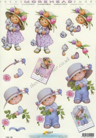 Morehead Boy & Girl In Big Hats 3D Decoupage Sheet